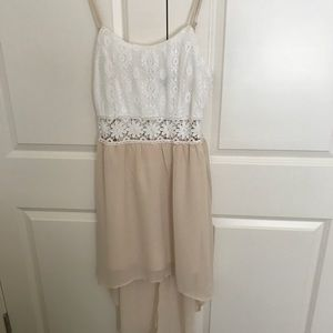 White and cream high low summer dress
